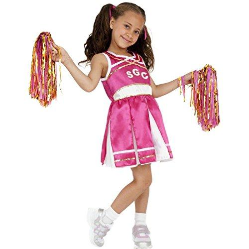 Kinder Cheerleader Kostüm Mädchen Cheerleaderkostüm pink M 140 cm Uniform Cheerleading Kinderkostüm Fasching Karneval (Cheerleading Uniform Für Mädchen)