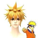 HOOLAZA Perruque anti-déformation courte queue moelleuse blonde 30Cm Perruque Cosplay Naruto Uzumaki Naruto