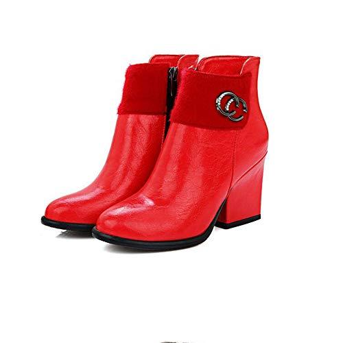 Herbst und Winter High Heel Stiefel Kinder Booties dick mit Hochzeitsstiefeln, rot, 36 (Stiefel Für High Heel Kinder)