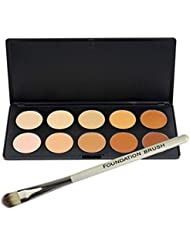 Make-up Concealer - SODIAL(R)10 Farben-Verfassung Concealer Palette + Foundation Buerste 7 # Professionelle Make-up Set