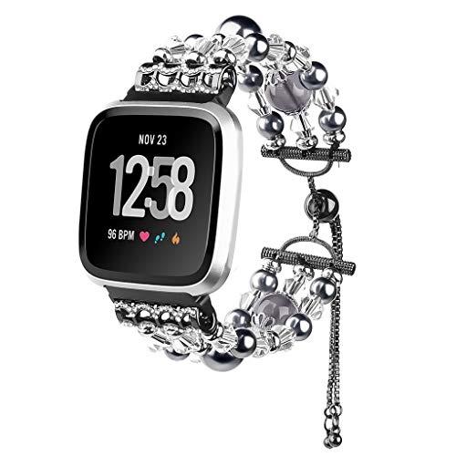 Mumuj Mode Elegant Damen Metall Armband, Schmuck Glanz Ersatz Watch Band Jewelry Metallarmband mit Schmuck Ersatzband für Fitbit Versa Lite (Schwarz)