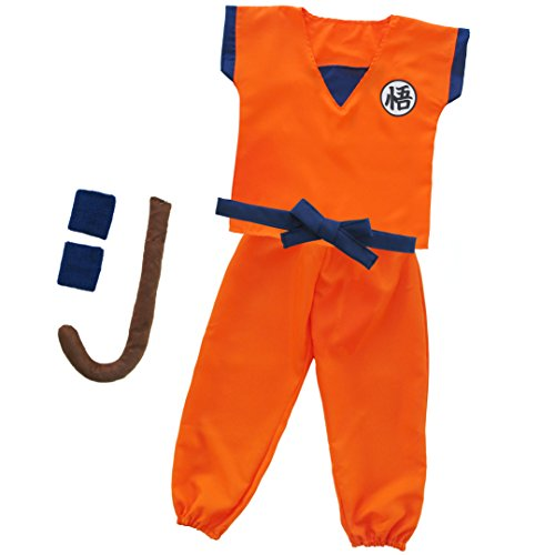 Papapanda Kinder Kostüm für Dragonball Son Goku Training Kleidung Cosplay Costume Trainingsanzug Karneval (Kinder Son Kostüm Für Goku)