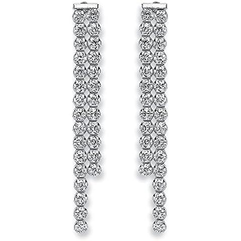 In argento Sterling, con doppia fila di pietre Tussle-Orecchini a goccia, colore trasparente