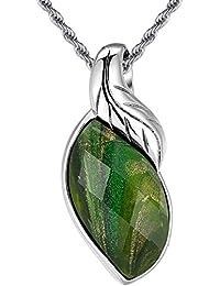 Hoja de acero inoxidable y multi-facetado cristal verde chispeante de las mujeres arena W, - colgante G2018ZS6