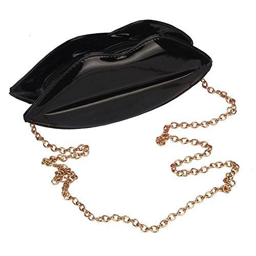Malloom® Neue Frauen-Dame-große Lippen-Abend-Partei-Kupplungs-Schulter-Handtaschen-Geldbeutel (schwarz) (Quaste-abend-geldbeutel)