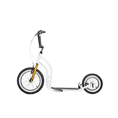yedoo Blanc–Or Trottinette–Kick Bike–vient avec pneus à air pour adulte jusqu'à 120kg Scooter de 12ans teilmontiert dans le