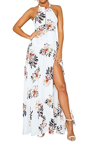 Junshan Elegant Kleid Strandkleid Weiß Boho Sommerkleid Lang Maxikleid Retro Ärmlos Blumen Strand Röcke (36, Weiß) (Frottee-kleid Up Cover)