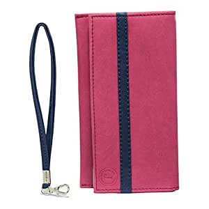 Jo Jo A5 Nilofer Leather Wallet Universal Pouch Cover Case For Intex Aqua Y4 Pink Dark Blue