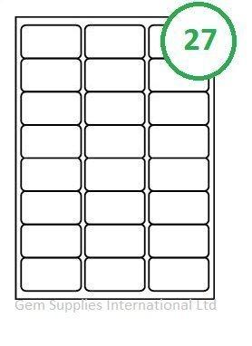 50 Hojas Calidad Etiquetas Blanco - 27 por A4 folio (1350 etiquetas) - 63.5 x 29.6mm, Pegatinas, Dirección, Inkjet, Láser o Copiadora, Mermelada No, Blanco Mate