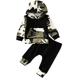 ◕‿◕ LMMVP 2Pcs Ensemble de Vêtements Bébé Garçon Enfant en Bas Age Camouflage à Capuche Tops + Tenues de Pantalon