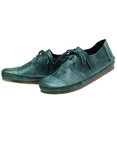 Youlee Femmes Gros Tête Doux Bas Lacer Cuir Chaussures Vert