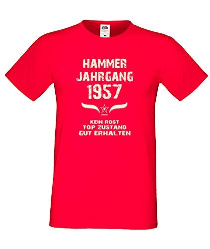 Sprüche Fun T-Shirt Jubiläums-Geschenk zum 60. Geburtstag Hammer Jahrgang 1957 Farbe: schwarz blau rot grün braun auch in Übergrößen 3XL, 4XL, 5XL rot-01