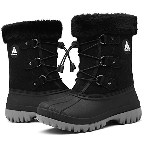 Mishansha Boys Girls Winter Boots Waterproof Non-Slip Snow Shoes Warm Fur Lined Kids Middle Boots Comfortable Booties