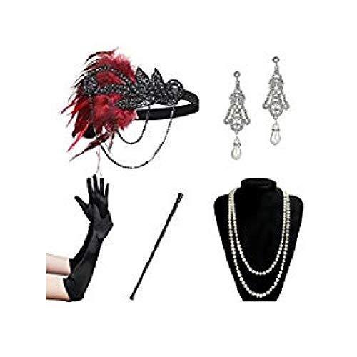 AmDxD Damen 20er Jahre Zubehörset Flapper Kostüm-Set Feder Retro Stirnband, Perlenkette, Quaste Ohrringe, Hohl Spitze Handschuhe, Zigarettenhalter 20s Kostüme Inspiriert Accessoires Schwarz Rot (Paare Kostüme 20s,)
