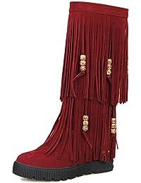 YE Botte Boots Frange Femme Longue Plateforme Genou Plate Chaussure Hiver b423f4a1103d