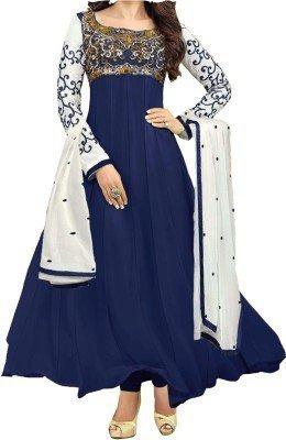Vipani Fashions Women's Faux Georgette Semi Stitched Salwar Suit (Kar_Blue_2_Blue)