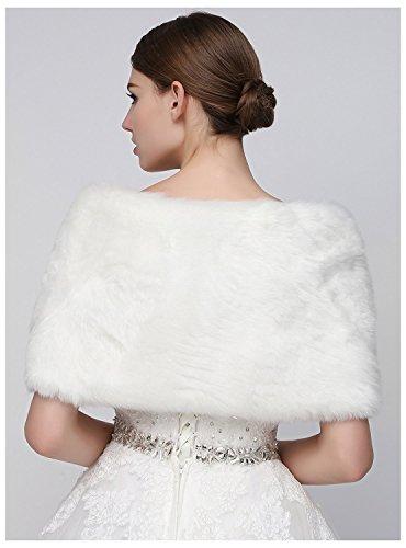 Sarahbridal Damen Kunstpelz Wrap Cape Hochzeit Stolaschal Bolero Fur