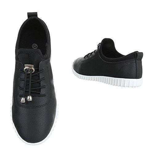Ital-Design Sportschuhe Damenschuhe Geschlossen Sneakers Schnürsenkel Freizeitschuhe Schwarz