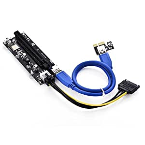 LEAGY PCIe VER 006C 16x to 1x Powered Riser Adapter Card w/ 60cm USB 3.0 Extension Cable & 6-Pin PCI-E to SATA Power Cable - GPU Riser Adapter - Ethereum Mining ETH + 2 MintCell Cable Ties (1) 1Pack-6Pin)
