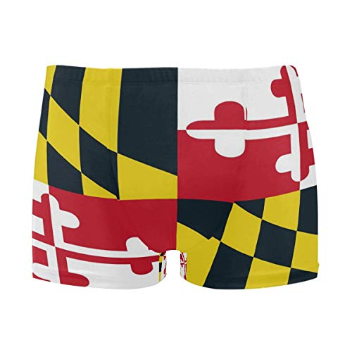 best gift Mens Swim Trunks Maryland State Flag Boxer Briefs Board Short Beach Shorts Men Swimming Briefs Swimwear XL -