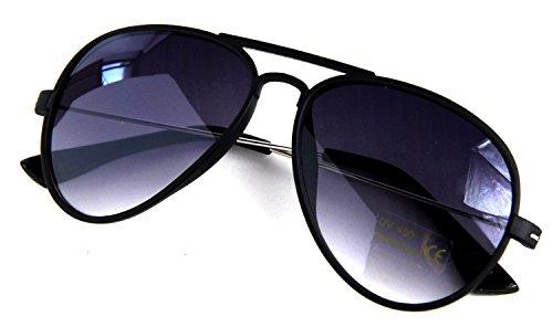 Für Piloten Kostüm oder Polizei Pilotenbrille Matt Schwarz Metall Bügel 70er Style Fliegerbrille...