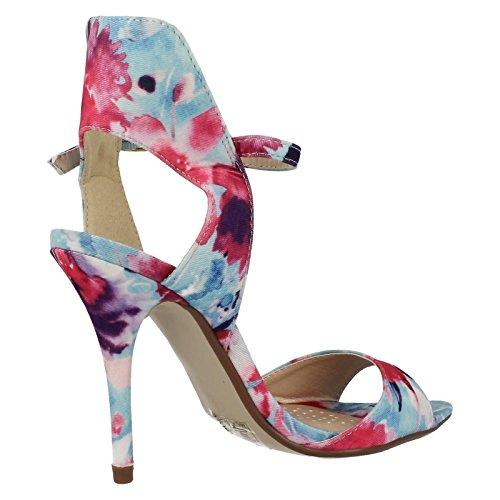 Femme Anne Michelle Floral Fashion Chaussures à talons Bleu - bleu