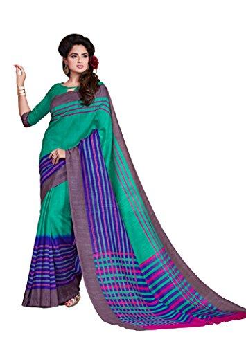Dream Beauty Fashion Sarees Daily Wear Stripe & Geometric Print Multi-Color Cotton Sari With Blouse (Malgudi-4376)