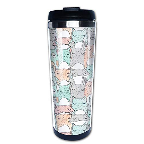 Animal Friends Multi Insulated Stainless Steel Travel Mug 14 oz Classic Lowball Tumbler with Flip Lid Nissan Thermos Travel Mug