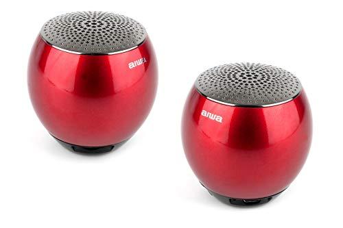 AIWA Atom Bluetooth-Lautsprecherpaar|Tragberer Bluetooth Musikbox| Gehäuse aus gefräster Metalllegierung (rot) Aiwa Stereo