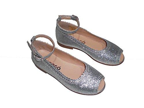 Merceditas fille Glitter et peau de mi qualité, chaussure enfant Made in Spain, garantie de qualité. Argent