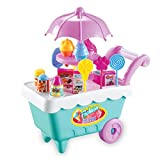Soteer Eiswagen Kinder Spielzeug DIY Lernspielzeug mit Licht und Musik Ice Cream Spielzeug Wagen Süßigkeiten Warenkorb Eisstand Kinder 19 Stück