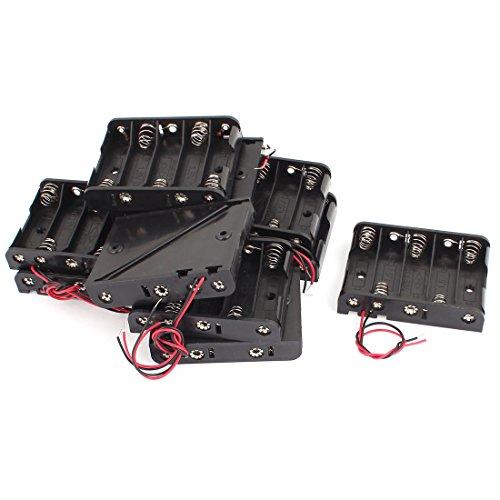 sourcing map 10 Stück Kunststoff Schale2 Kabel 5 x 1,5V AA Batterie Fall Aufbewahrungsboxen Halter schwarz DE de Aa Fall
