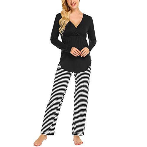 Pigiama due pezzi premaman ospedale manica lunga pigiami allattamento maternità pyjamas gravidanza cotone top e pantaloni