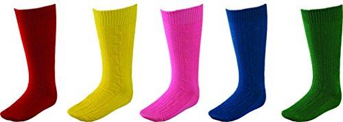 """""""Fuente"""" Trachtenstrümpfe, Trachten Socken, Kniestrümpfe mit Zopfmuster in 5 Farben (XL, Blau)"""
