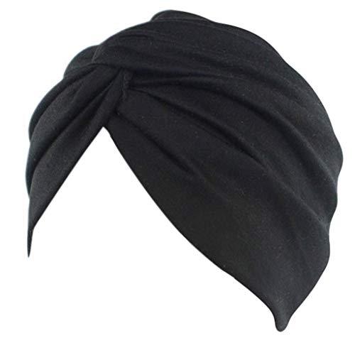 Lunji Turban Chimio Femme, Doux Bandana Cheveux Bonnet Musulman (Noir)