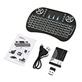 Mini Teclado Remoto inalámbrico de 2.4GHz con Mouse de Panel táctil para Android TV Box Batería de Iones de Litio Recargable de luz de Fondo LED Colorida Kaemma(Color:Black)