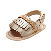 Open Toe Sandals for Baby Girls, VNEIRW Summer Fanni Sandals PU Leather Moccasins - Elegent Design with Tassel and Knit Knot (12, Gold)