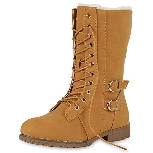 SCARPE VITA Damen Schnürstiefel Warm Gefütterte Stiefel Winter Schuhe Profil 151639 Hellbraun 36