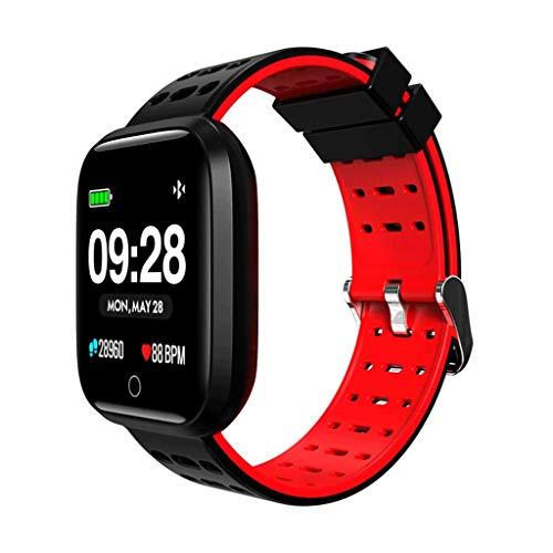 YYH Pulsera Deportiva con Monitor de frecuencia cardíaca con pedómetro de 1,3 Pulgadas y Pulsera Inteligente a Prueba de Agua, Cuatro Colores Opcionales 23X43X12 mm Reloj Inteligente (Color : Red)