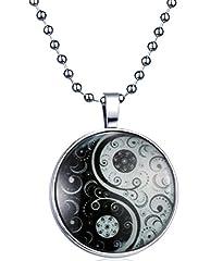 Idea Regalo - Yumilok Tai Chi Yin Yang Collana con ciondolo brillante al buio in lega, amuleto, per uomo e donna, luce blu