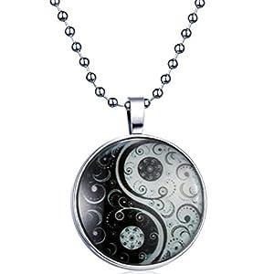 Yumilok Tai Chi Yin Yang Nachtleuchtend Anhänger Halskette Legierung Medaillon Amulett Kettenänhanger für Damen Herren, Blaues Licht