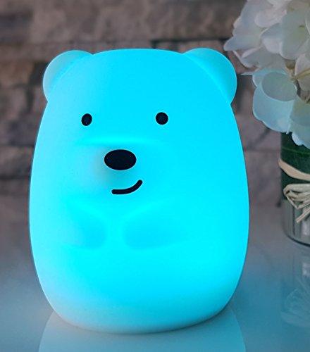 Nachtlicht LED niedlich für Kinder, Nacht Lampe süßer Bär mit 8 Farbwechsel mit Touch Funktion, Baby Kinderzimmer Spielzeug Geschenk