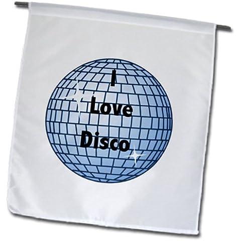 3dRose FL _ 130337_ 1I Love Disco con glitter blu giardino Bandiera, 12, Sfera da discoteca 18Inch - Sfera Giardino Bandiera