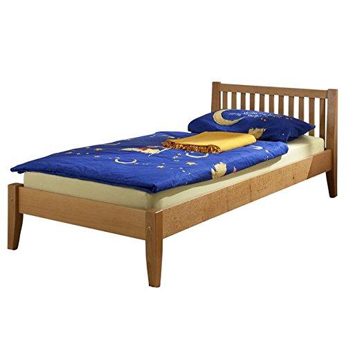 Lit simple lit enfant lit adulte cadre de lit SONJA 90 x 200 cm hêtre massif vernis naturel