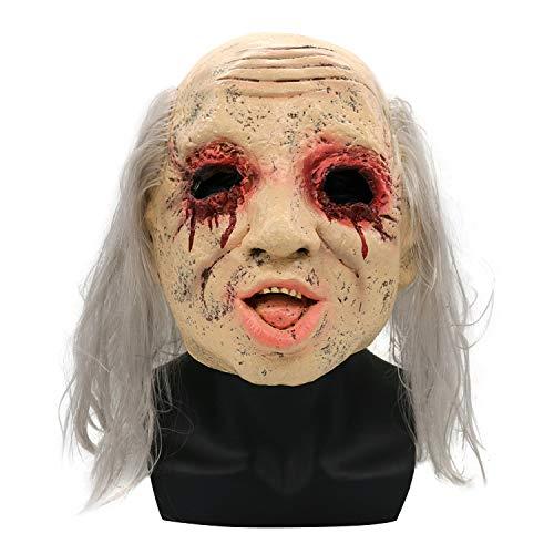 (Halloween Maske Scary Silber Haar Weibliche Geist Puppe Latex Maske Bar Prom Requisiten Horror Geist Kopfbedeckungen)