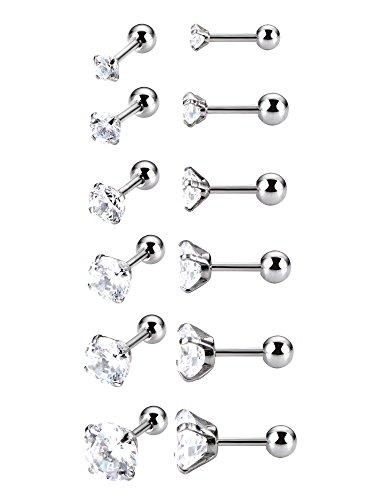 6 paia 18 gauge cubico zirconi orecchino cartilagine spirale trago orecchini a bottone in acciaio inox