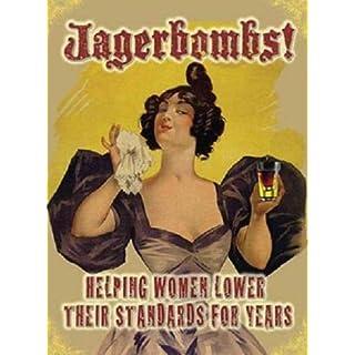 qidushop Plaque publicitaire rétro Jagerbombs Bar Shot Drink Gift Metal Signs Funny Aluminium Sign for Garage Home Yard Clôture Allée
