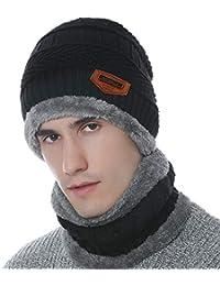 Petrunup Inverno Caldo A Cappello E Il Collo più Spessa di Beanie Sciarpa  Foderata 2 Pezzo 70126e1bfd8f