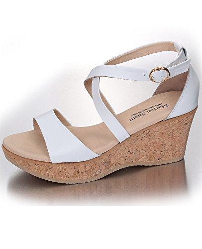 Marion Spath Damen 319-492 Glattleder Wedge-Sandalette Weiß