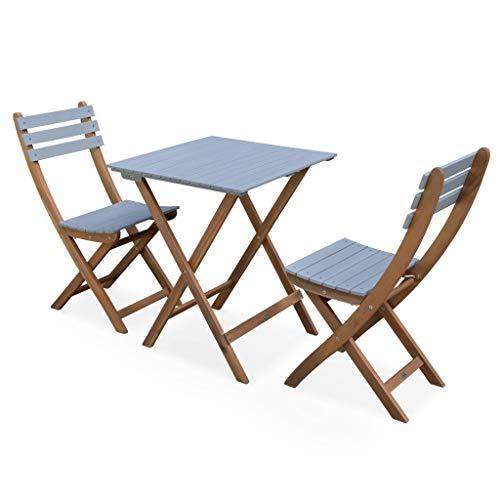 Table de Jardin en Bois 60x60cm - Barcelona Bois/Gris Clair - Table bistrot Pliante Bicolore carrée en Acacia avec 2 chaises Pliables